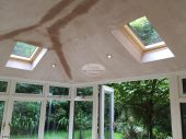 Internal view of Equinox warm roof system with plaster