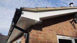 Fascia soffit guttering white recent install reading halfround guttering board downpipe black