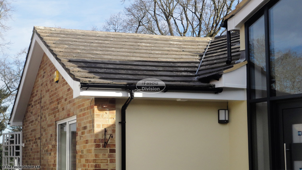 Fascia soffits black halfround guttering white plastic pvcu reading