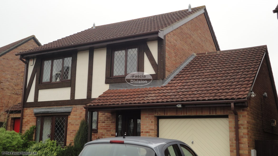 New soffits fascia boards guttering rosewood veneer squarline guttering downpipe reading rooftrim