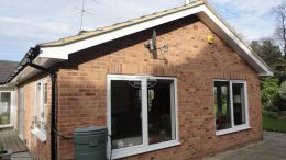reading gable soffits fascia board white black rooftrim guttering downpipe black white