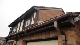 recent installation Fascia soffits Rosewood squareline guttering plastic pvcu reading