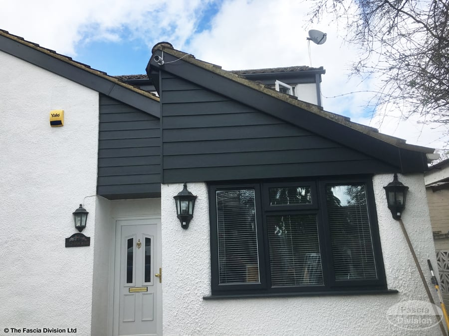 Anthracite Hardieplank cladding with UPVC anthracite fascia board